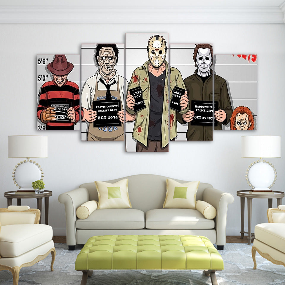 Canvas HD Prints Wall Art Pictures Frame 5 Pieces Comics Gracioso Freddy Krueger Paintings Horror Movie Poster Living Room Decor