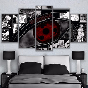 Modular Wall Art Pictures Canvas HD Printed Anime Painting Framed 5 Pieces Naruto Sharingan Poster Modern Home Decor Room PENGDA