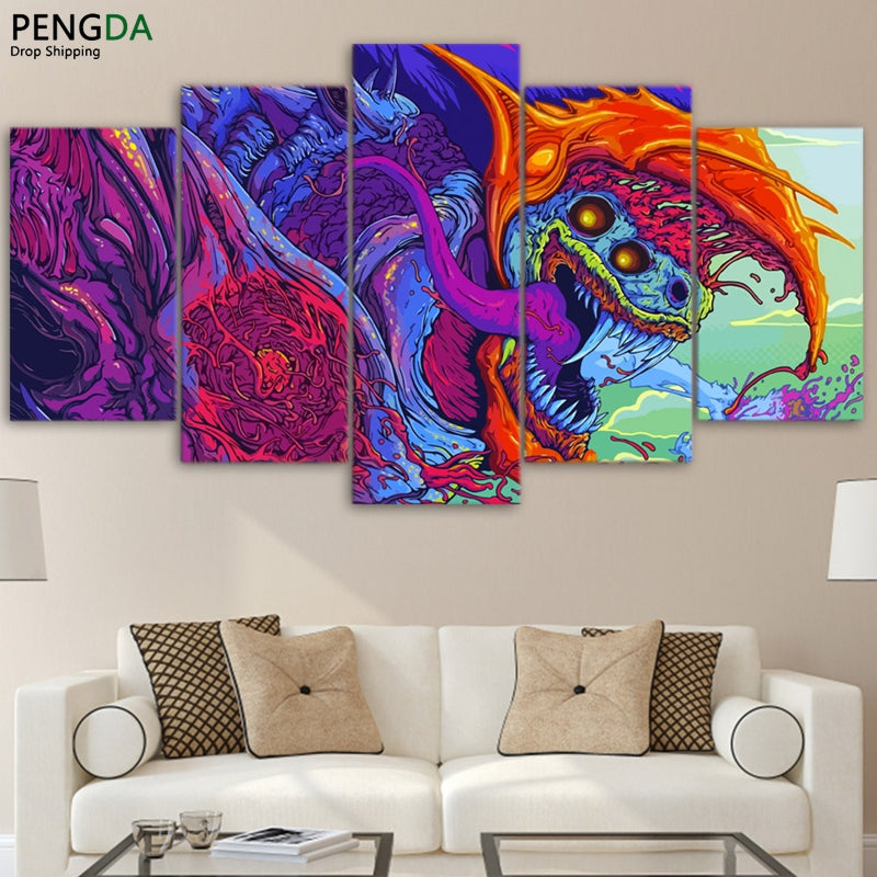Modular Pictures Home Wall Frame Modern Abstract Poster HD Printed 5 Pieces Canvas Hyper Beast Decor Anime Oil Painting PENGDA