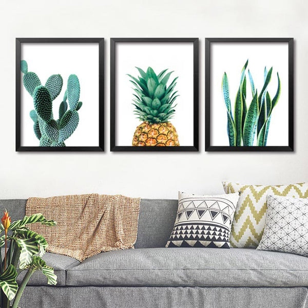 Art Print Wall Pictures For Living Room Wall Art Canvas Painting Posters And Prints Nordic Green Cactus Cuadros Poster Unframed