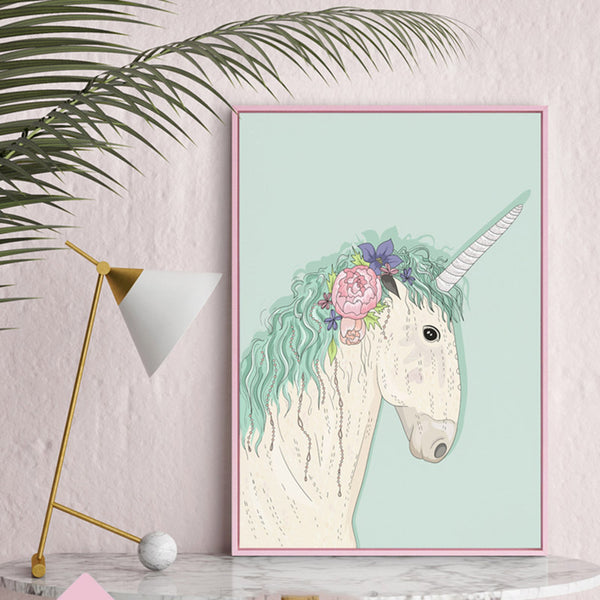 Unicorn Flower Princess Posters And Prints Nordic Poster Flamingo Horse Wall Art Canvas Painting Cuadros Decoracion Unframed