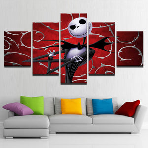 Canvas Prints Wall Art Pictures 5 Pieces Hallowmas Jack Skellington Paintings Home Decor Nightmare Before Christmas Poster Frame
