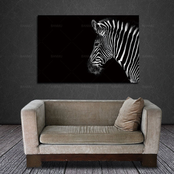 Wall Art Painting Pictures Print On Canvas Animal For Home Decoration Black And White Portrait Of Zebra Head Black Background