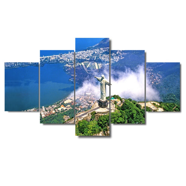 5 Pcs Christ The Redemeer Rio De Janeiro Brazil Paint Canvas Wall Picture Home Decor Living Room Canvas Print Modular Picture