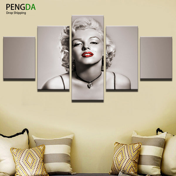 PENGDA Canvas Painting Home Decor For Living Room Canvas Art Frames 5 Panel Sexy Marilyn Monroe Printed On Canvas Wall Picture