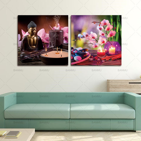 Buddha Canvas painting Wall Art spa Stone with Butterfly Orchid Picture Print on Canvas,zen Canvas Art bamboo and Candle