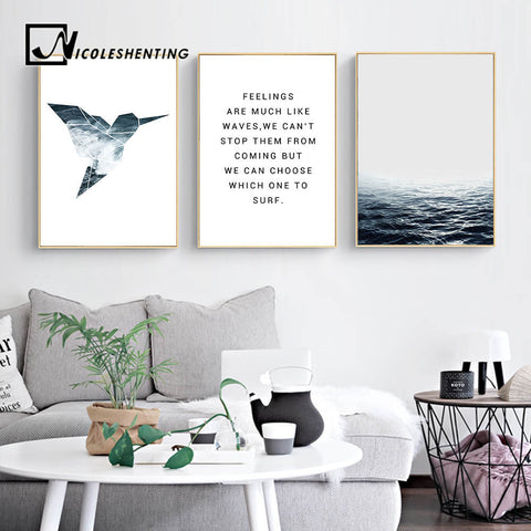 Tropical Sea Bird Motivational Wall Art Canvas Nordic Posters Prints Landscape Painting Wall Pictures for Living Room Home Decor
