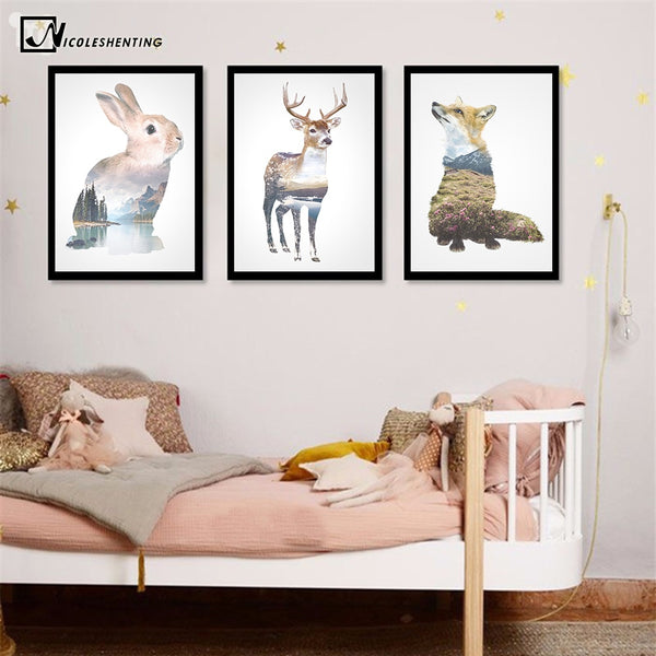 NICOLESHENTING Rabbit Deer Animal Silhouette Poster Prints Minimalism Wall Art Canvas Painting Nordic Style Picture Home Decor