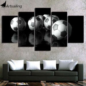 HD Printed 5 Piece Canvas Art Soccer Painting Football Wall Pictures Modular Framed Painting Home Decor Free Shipping CU-2607B