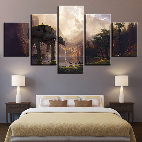 Canvas Pictures Modern Wall Art Prints Home Decor 5 Pieces Star Wars Robot Dog AT-AT Paintings Movie Landscape Posters Framework