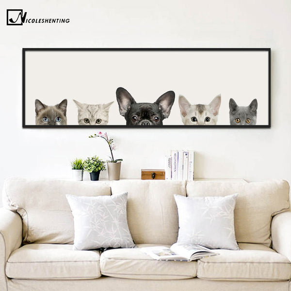 Kawaii Animals Cat Dog Poster Minimalist Art Canvas Painting Wall Picture Long Banner Print Modern Home Room Decoration 391