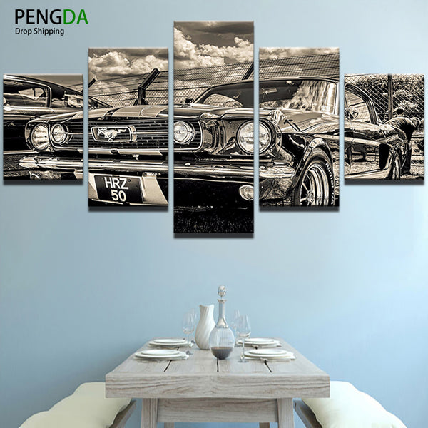 PENGDA Modern Home Wall Decor Frame Painting Canvas Art HD Print 5 Panel Retro Cool Car Painting Canvas Wall Picture Home Decor