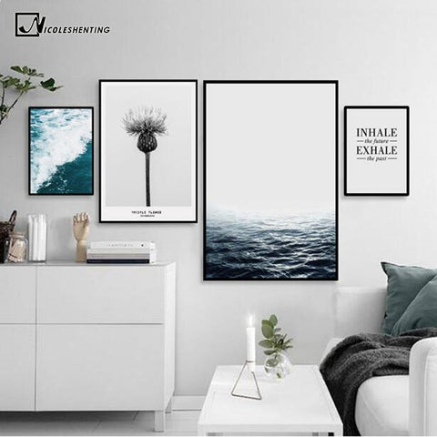 Tropical Sea Motivational Poster Qutoe Print Canvas Art Painting for living Room Wall Decorative Picture Nordic Style Home Decor