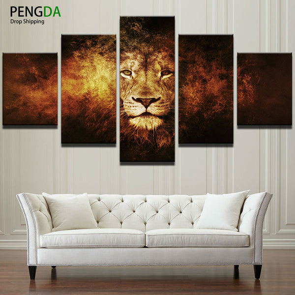 Canvas Painting Wall Art Frame Decorative Modular Picture 5 Panel Abstract Animal Lion For Living Room Bedroom Oil Prints PENGDA