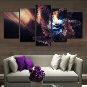 5 Pieces Frameless Canvas painting decoration  Photo Prints Abstract Colored Flowers Wall Art Picture Artwork Giclee Paintings