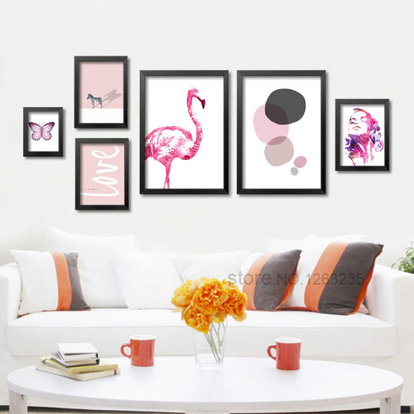 Posters And Prints Nordic Wall Pictures For Living Room Cuadros Canvas Art Flamingo Wall Art Canvas Painting No Poster Frame