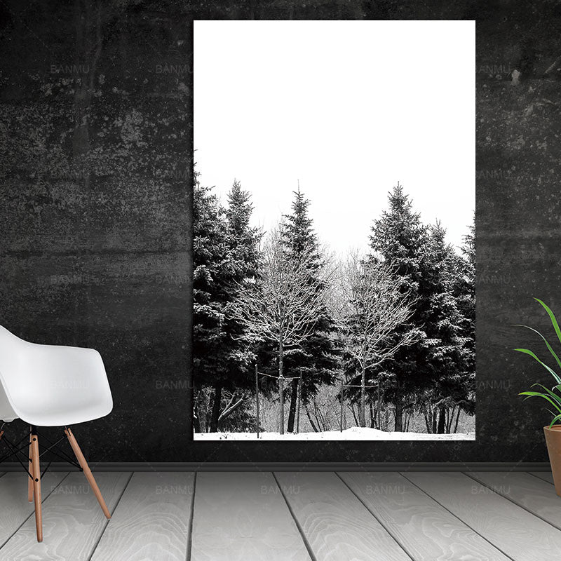 Scandinavian Winter Snow Forest Trees Nordic Abstract Wall Pictures Art Decoration Pictures Canvas Painting Prints No Frame