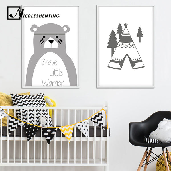 Tribe Bear Wall Art Canvas Posters Cartoon Nursery Prints Nordic Style Painting Wall Pictures Children Bedroom Decoration