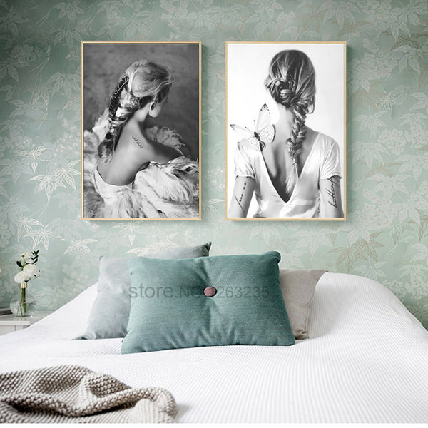 Black Grey Girl Butterfly Nordic Poster Cuadros Decoracion Home Wall Art Canvas Painting Wall Pictures For Living Room Unframed