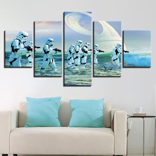 HD Printed Abstract Pictures Canvas Living Room Wall Art 5 Pieces Movie Star Wars Paintings Soldiers Poster Home Decor Framework