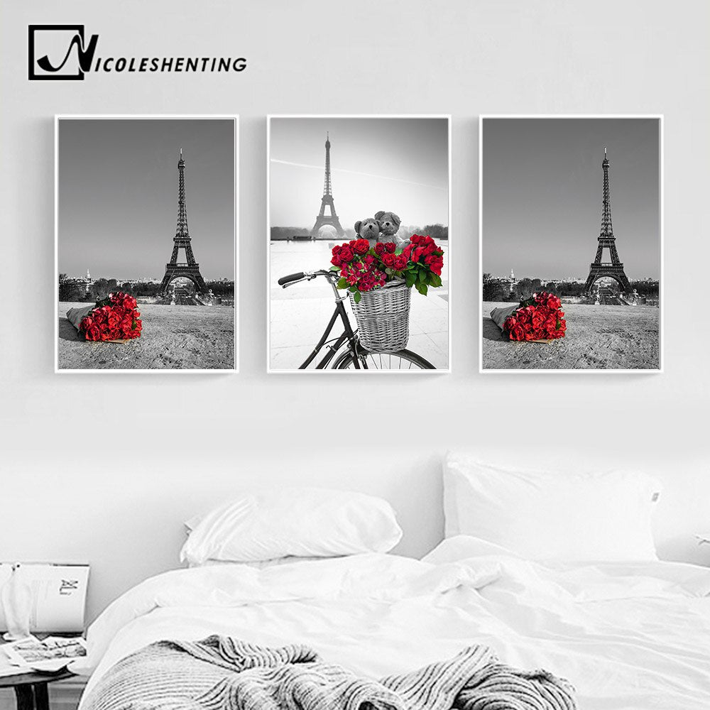Paris Eiffel Tower Red Rose Flower Landscape Posters And Prints Wall A Retrodora