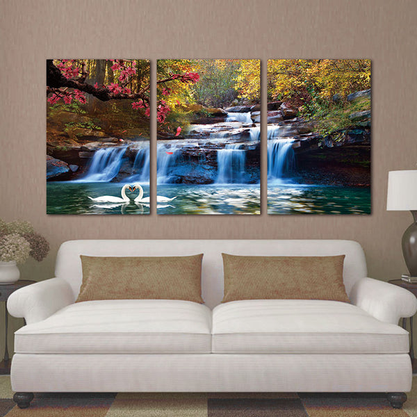 3 Piece Home Decor Canvas Wall Art Paintings NO Framed Canvas Photo Prints Waterfall Woods Swan Home Office Artwork Paintings
