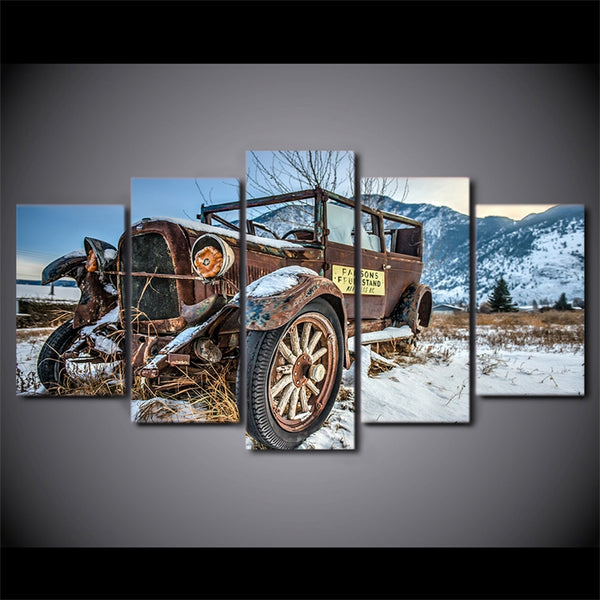Modern Home Wall Art Decor Frame HD Printed Snowfield Painting Artworks 5 Pieces Old Broken Car Poster Canvas Pictures PENGDA