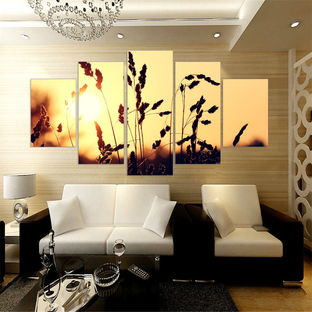 5 Panel wall art decoration For Living RoomModern Prints Landscape Mountains Flower Painting Picture Canvas Wall Sunset