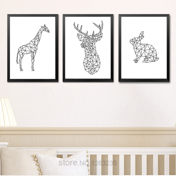 Nordic Poster Abstract Geometric Deer Animals Posters And Prints Wall Art Canvas Painting Wall Pictures For Living Room Unframed