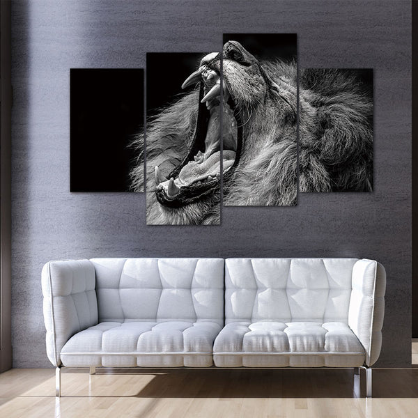 4 Panels Unframed Canvas Photo Prints The Roaring Lion Wall Decorations for Living Room Home Office Artwork Giclee Paintings