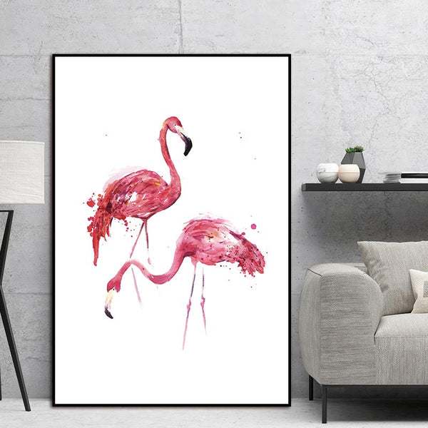 Nordic canvas Watercolor Flamingo Canvas Art Print Painting Poster Wall Pictures for Home Decoration Giclee Print Wall Decor