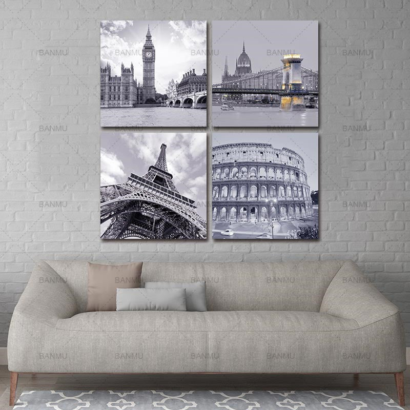 canvas painting wall art  4 Piece Famous Buildings Roman Colosseum Big Ben  Eiffel Tower Oil Painting Wall for Home