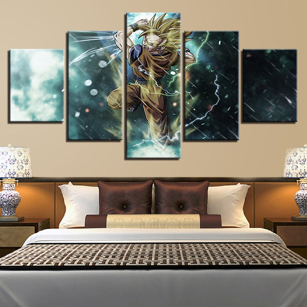 Canvas HD Prints Pictures Living Room Home Decor 5 Pieces Dragon Ball Z Super Saiyan Paintings Anime Posters Wall Art Framework