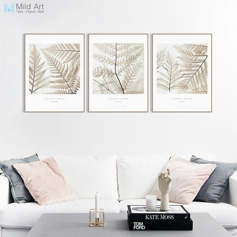 Modern Minimalist Plant Leaves Cotteage A4 Large Canvas Art Print Poster Wall Picture Living Room Decoration Painting No Frame