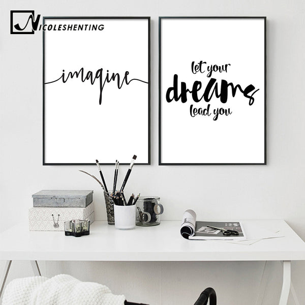 Motivational Quote Minimalist Art Canvas Poster Print Abstract Painting Black White Wall Picture Modern Home Decoration
