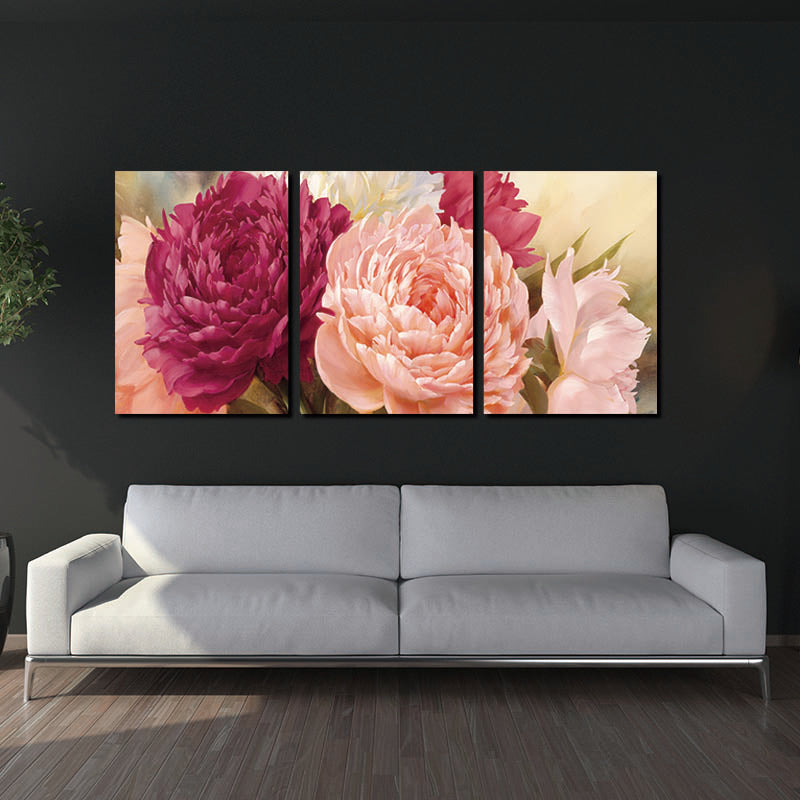 5 Panel Pictures Canvas Painting peony Flower Painting Wall Art Decoration Canvas Wall Art Modular Picture(Unframed)