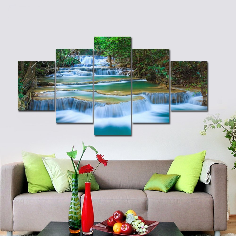 BANMU Large Peaceful Waterfall 5 Panels Modern Canvas Print Artwork Landscape Pictures Photo Paintings on Canvas Wall Art
