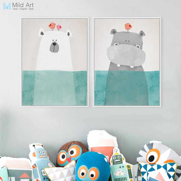 Modern Cute Animal Bear Hippo Poster Print Wall Art Picture Nordic Vintage Kawaii Kids Room Decor Canvas Painting No Frame Gifts