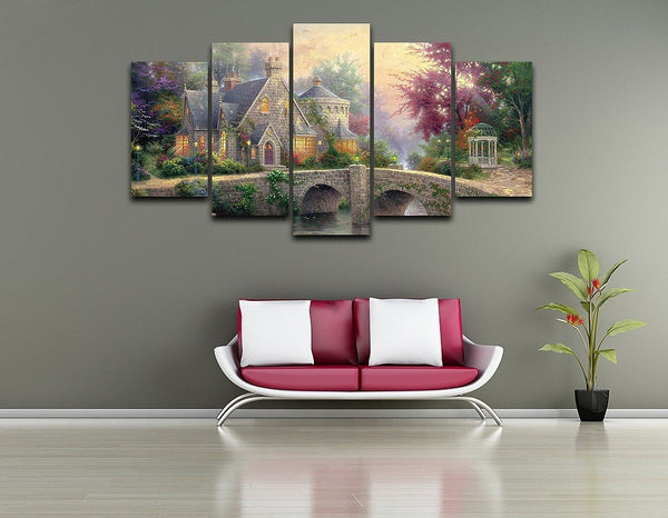 Wall Art Framework Home Decor HD Printed Bridge Poster 5 Pieces Modular Pictures Classic Landscape Oil Painting On Canvas PENGDA