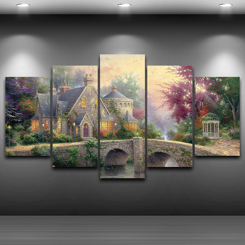 ARTMERLOD/® Canvas Pictures Wall Art Framework HD Prints 5 Pieces Vintage Movie Painting Modular Abstract Middle Earth Map Poster Home Decor