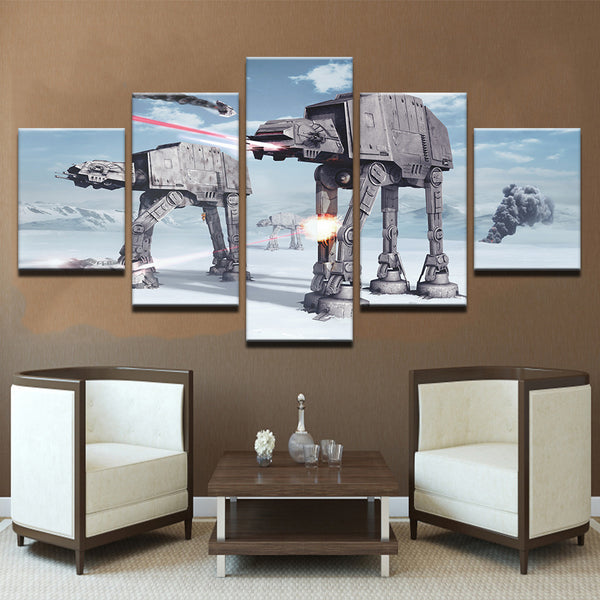 Wall Art Canvas HD Prints Paintings Home Decor For Liveing Room 5 Pieces Star Wars Pictures Robot Dogs AT-AT Posters Framework