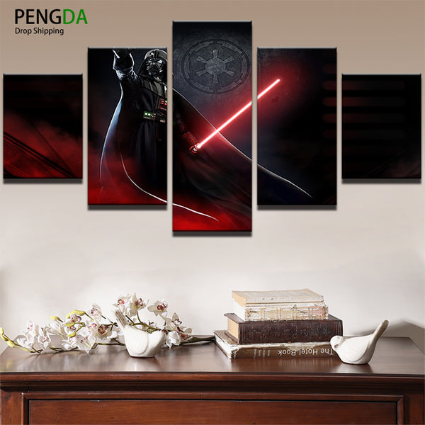 PENGDA HD Printed Pictures Painting On Canvas Wall Art Decor 5 Panel Star Wars Movie Poster Darth Vader Home Decorative Framed