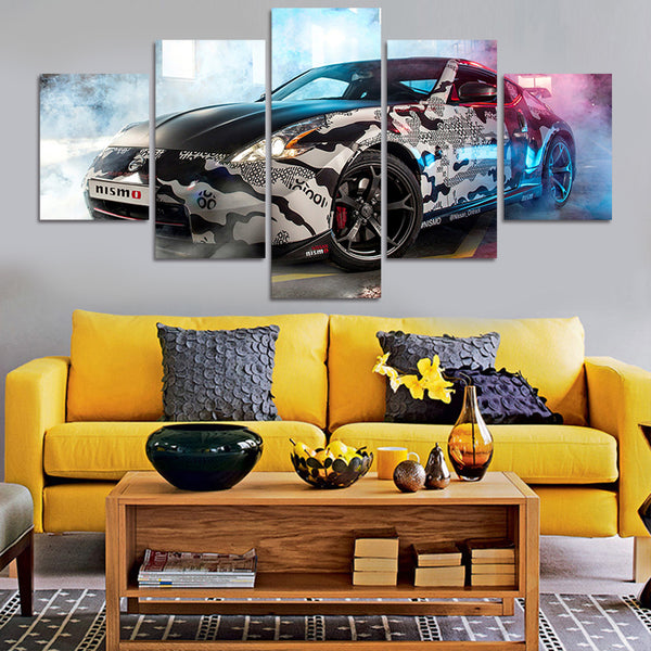 5 Panels Modular Picture Car Painting Canvas Wall Art Picture Home Decoration Living Room Canvas Printed Modern Painting