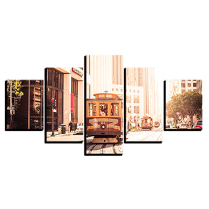 Canvas HD Prints Painting Home Decor Framework Pictures 5 Pieces European Cities Tram City Landscape Poster Living Room Wall Art