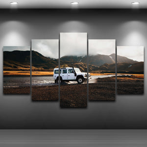 HD Printing On Canvas Wall Picture 5 Panel Jeep Painting Children Room Decoration Print Canvas Pictures Frame Wall Art Frame
