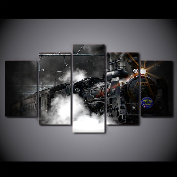 Modern Wall Art Canvas HD Printed Painting Frame Home Decor 5 Pieces Train Poster Steam Smoke Modular Abstract Pictures PENGDA