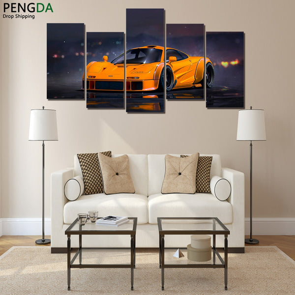 Modern Canvas Paintings Wall Art Pictures 5 Pieces Home Decor Orange Supercar Photo HD Printed Flashy Sports Car Posters PENGDA