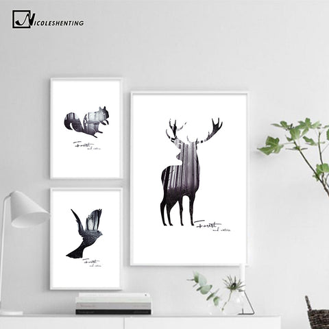 NICOLESHENTING Deer Forest Silhouette Nordic Poster Prints Minimalist Wall Art Canvas Painting Abstract Picture Home Decoration