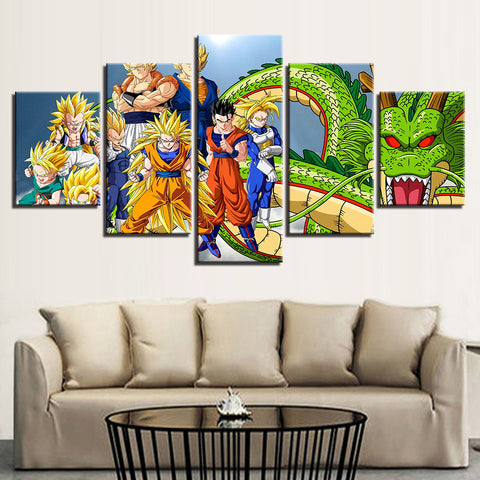 HD Prints Canvas Pictures Living Room Wall Art Anime Posters 5 Pieces Dragon Ball Z Super Saiyan Paintings Home Decor Framework