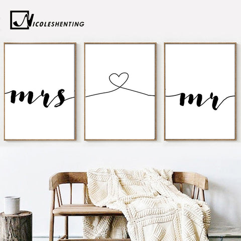 Mr Mrs Romantic Family Simple Quote Wall Art Canvas Poster Minimalist Print Painting Wall Picture for Living Room Home Decor